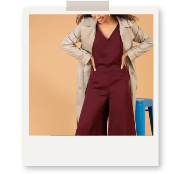 grana silk jumpsuit burgundy